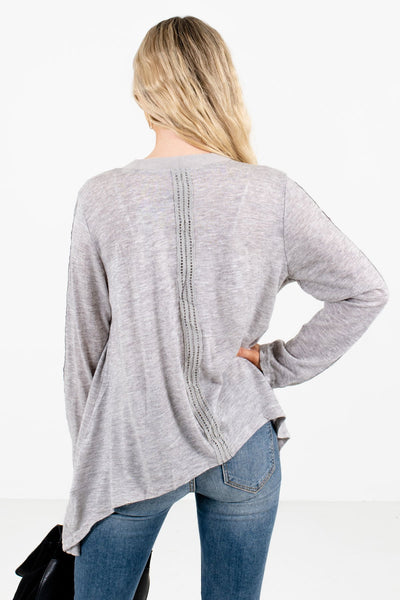 Women's Heather Gray Suede Detailed Boutique Cardigan