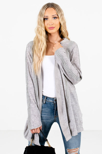 Heather Gray Crochet Lace Detailed Boutique Cardigans for Women