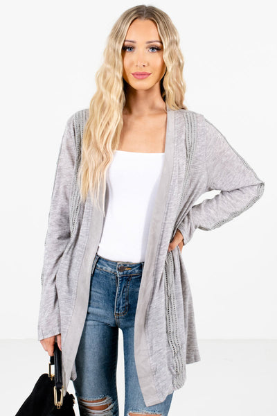 Women's Heather Gray Long Sleeve Boutique Cardigan