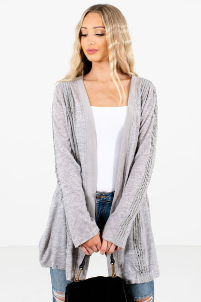Women's Heather Gray Layering Boutique Cardigans