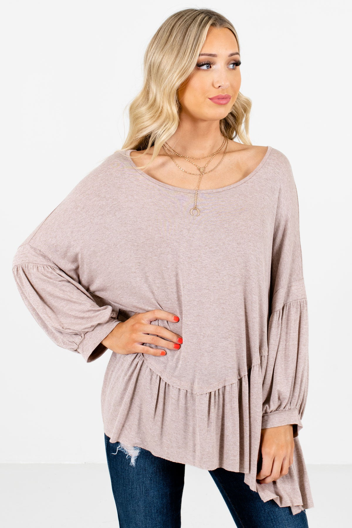 Taupe Brown Oversized Style Boutique Tops for Women