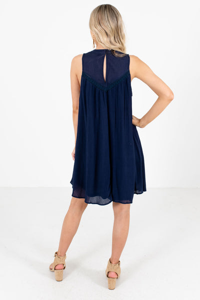 Women's Navy Blue Keyhole Back Boutique Knee-Length Dress
