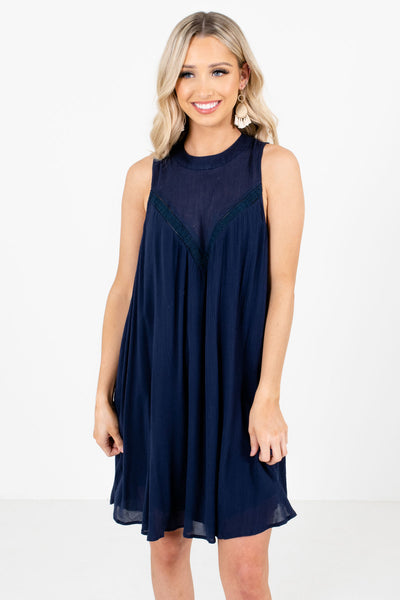 Navy Blue Knee-Length Boutique Dresses for Women