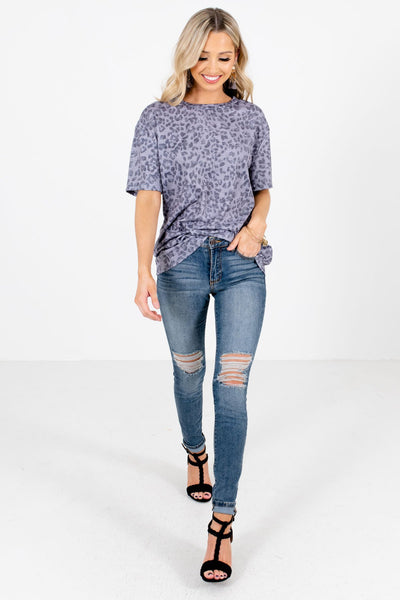 Gray Cute and Comfortable Boutique Leopard Print Tops for Women