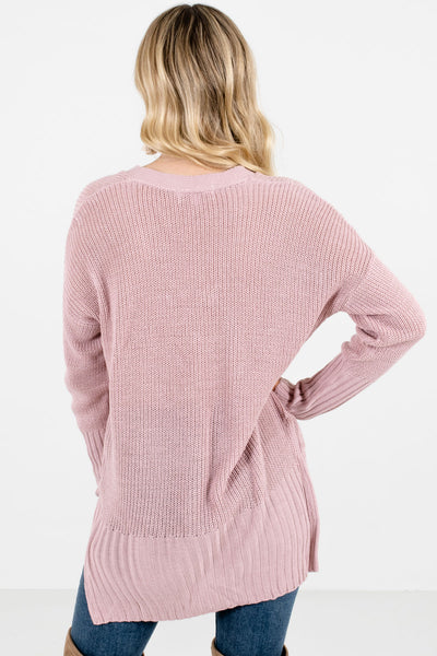 Women's Pink Criss-Cross V-Neckline Boutique Sweater