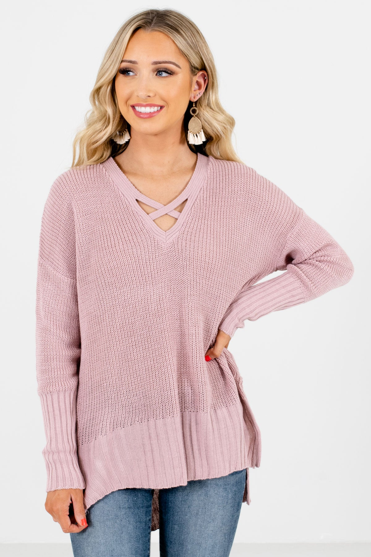 Pink High-Quality Knit Material Boutique Sweaters for Women