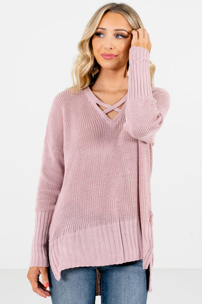 Women's Pink Warm and Cozy Boutique Sweaters