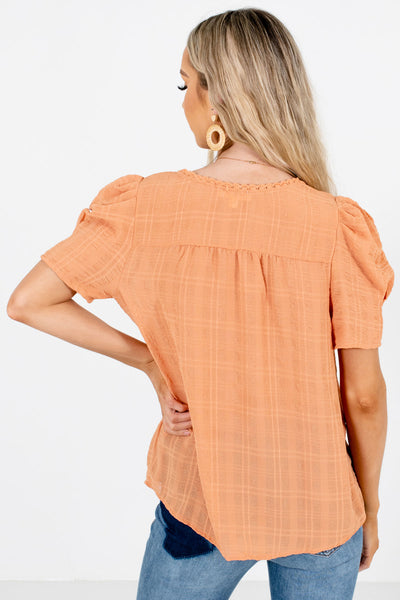 Women's Light Orange Lightweight High-Quality Boutique Blouses