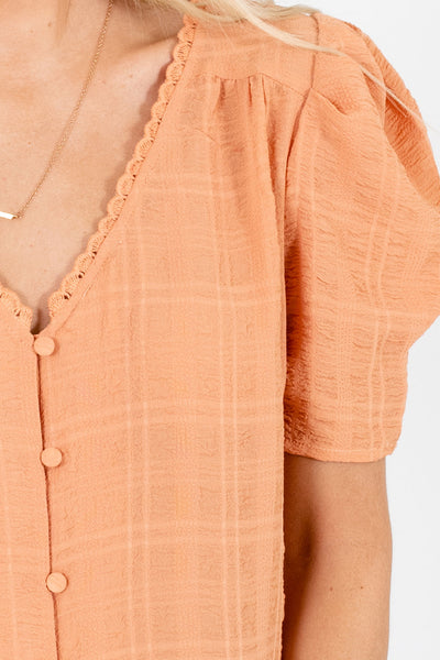 Light Orange Cute and Comfortable Boutique Blouses for Women