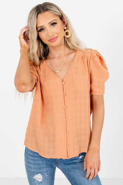 Light Orange Subtle Plaid Textured Material Boutique Blouse