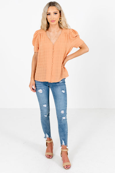 Women's Light Orange Business Casual Boutique Blouse