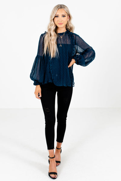 Teal Blue Cute and Comfortable Boutique Blouses for Women