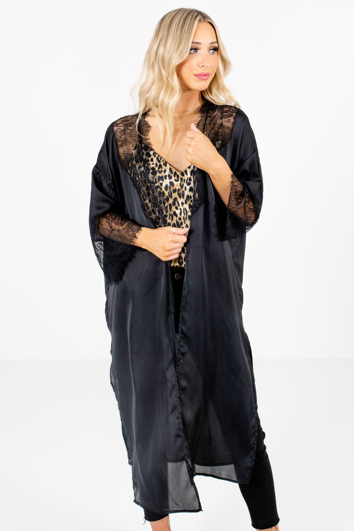 Black Lace Accented Boutique Kimonos for Women