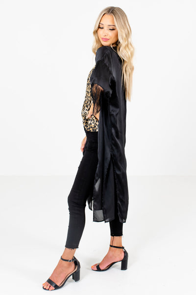 Black Silk-Like Material Boutique Kimonos for Women