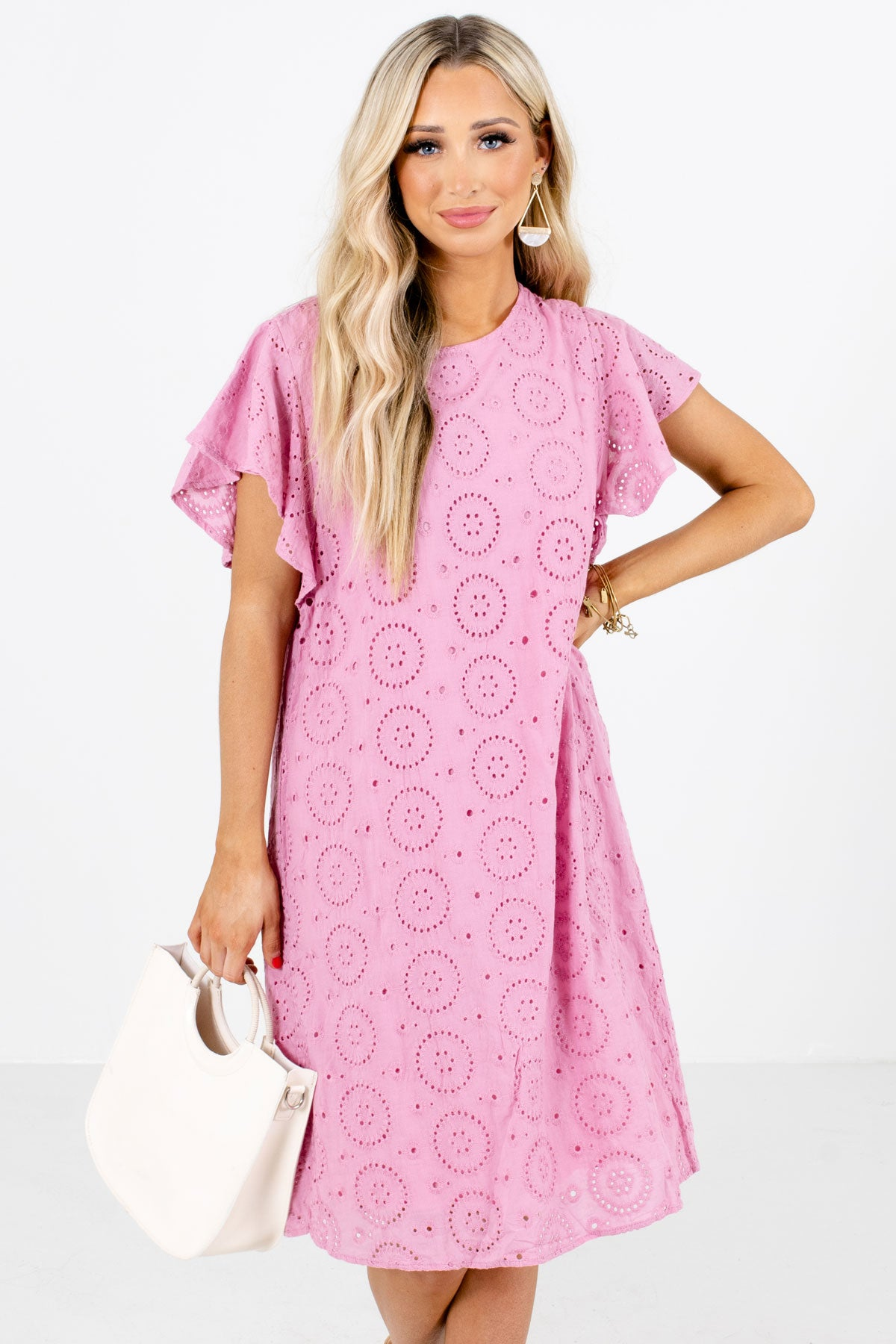 Pink Eyelet Material Boutique Knee-Length Dresses for Women