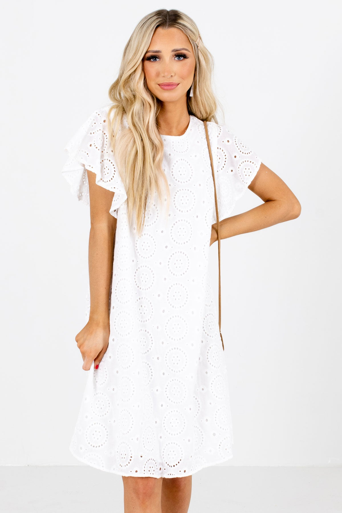 White Flutter Sleeve Boutique Knee-Length Dresses for Women