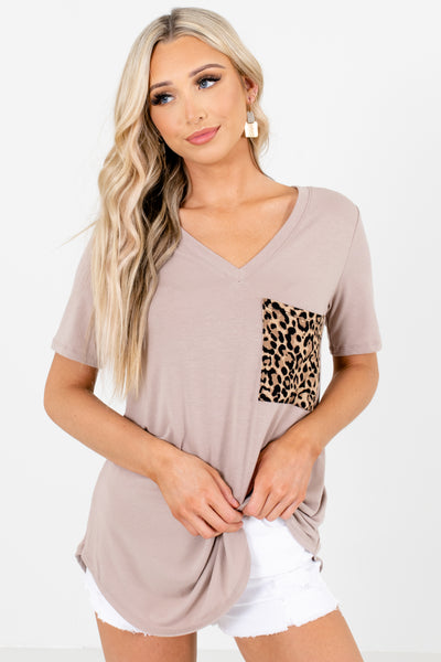 Brown Leopard Print Pattern Boutique Tops for Women
