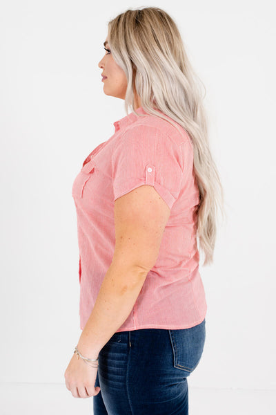 Women's Red Cuffed Sleeve Plus Size Boutique Shirts