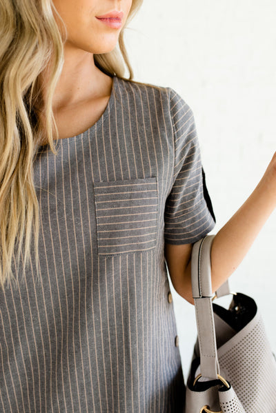 Gray and Taupe Striped Boutique Dresses for Women with Front Pocket