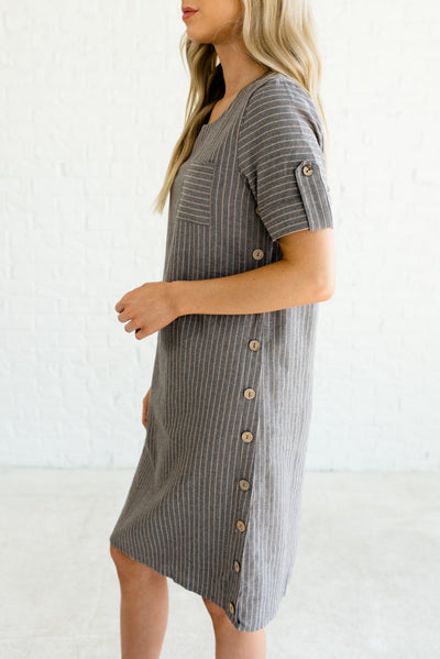 Gray and Taupe Cute Boutique Dresses for Women