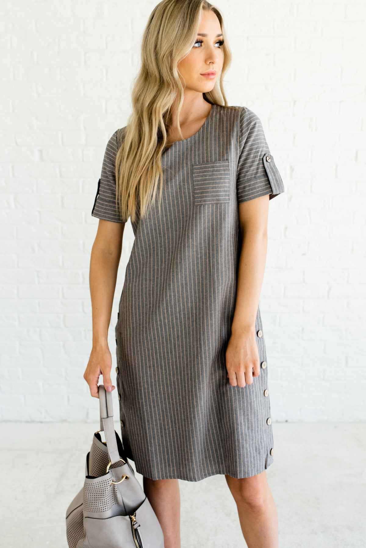 Gray and Taupe Striped Boutique Dresses for Women