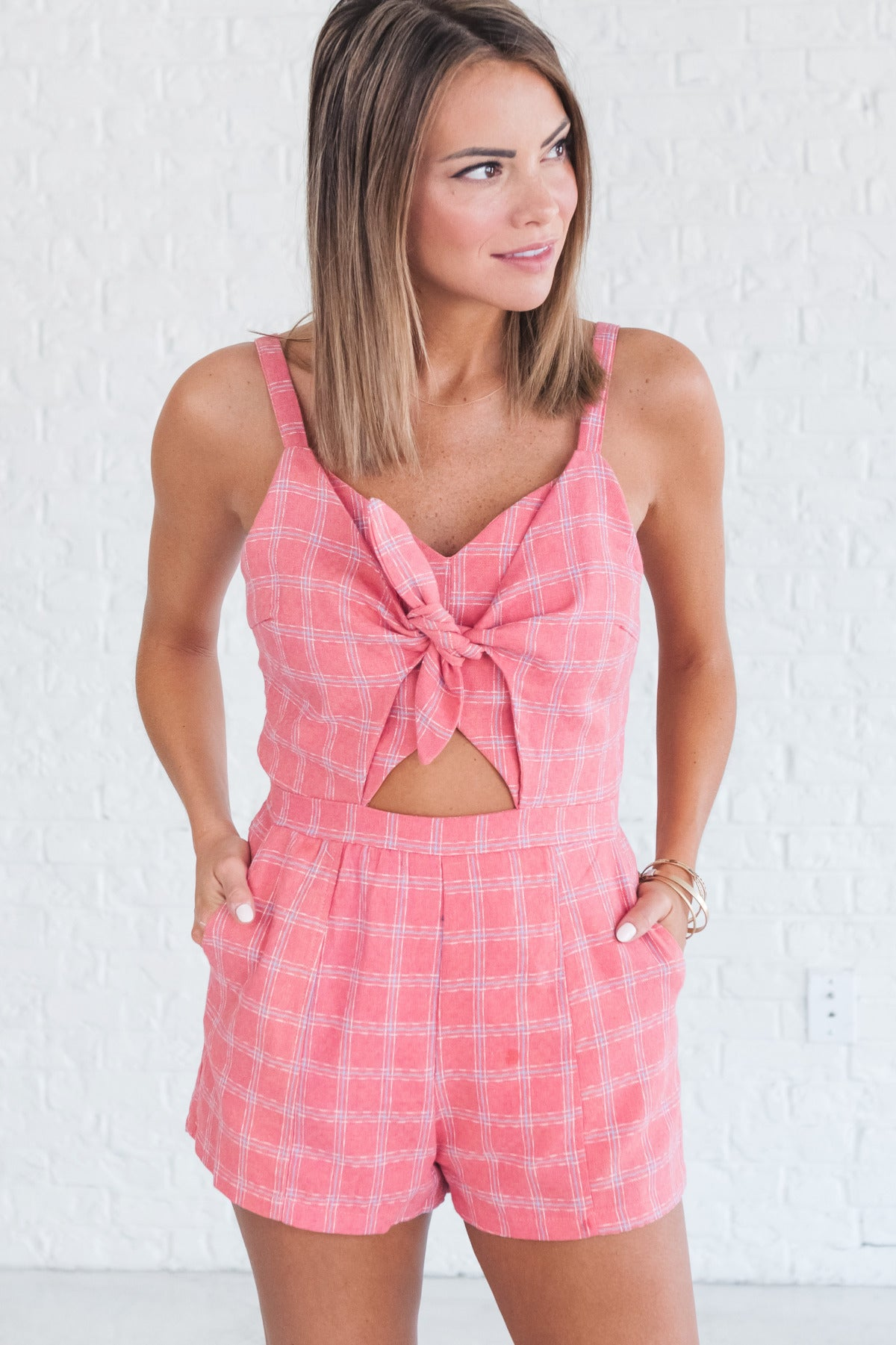 Coral Pink Plaid Romper with Front Tie Detail