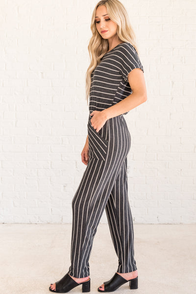 Charcoal Gray Women's Jumpsuit with Pockets