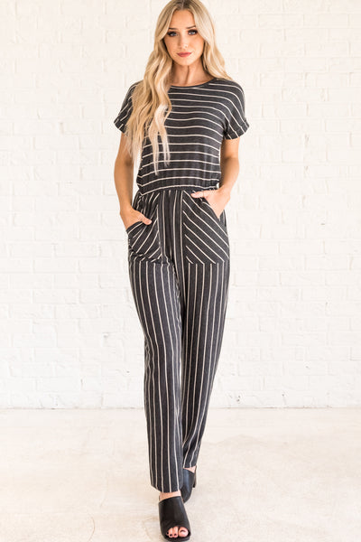 Charcoal Gray Striped Jumpsuits for Women