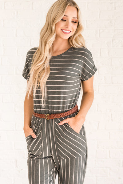 Olive Green Cute Striped Jumpsuits for Women