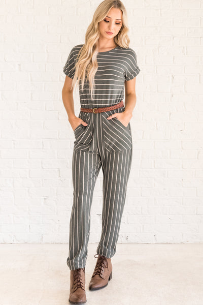 Olive Green Striped Jumpsuits for Women