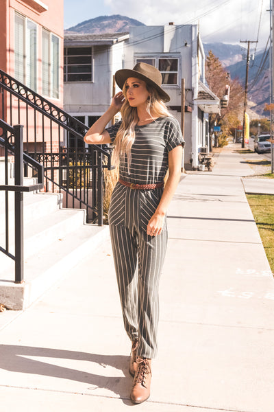 Olive Green and White Striped Boutique Jumpsuits for Women
