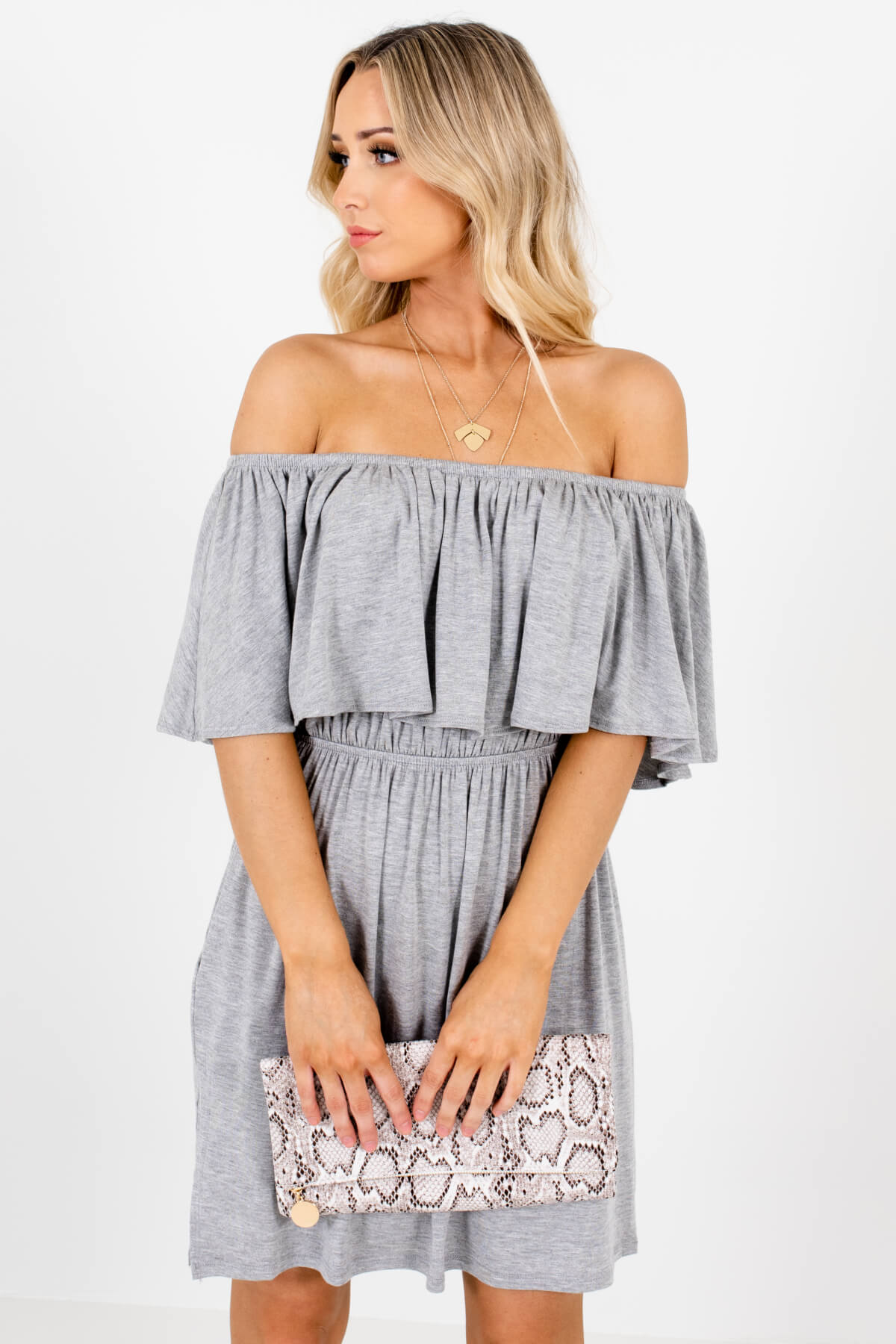 582d4e14547 Heather Gray Off Shoulder Elastic Waistband Boutique Mini Dresses