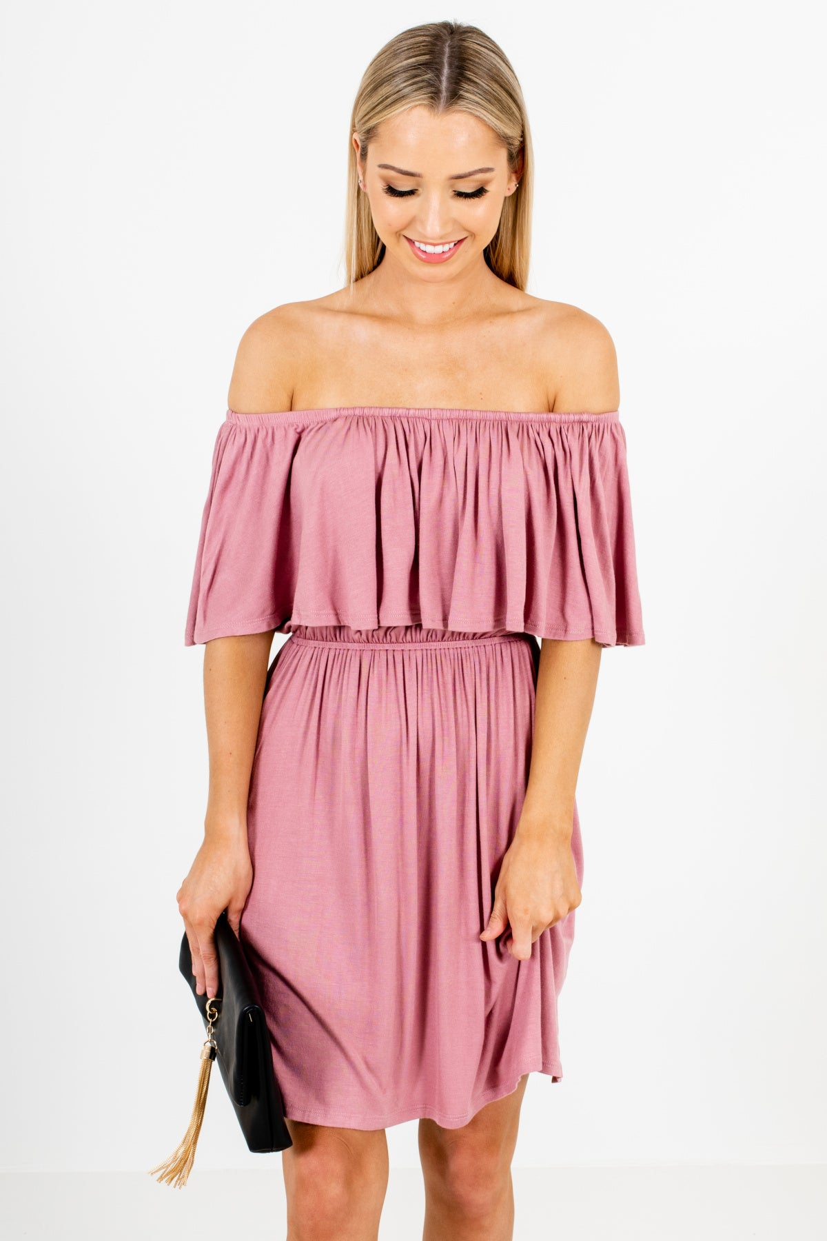 Light Mauve Pink Purple Off Shoulder Elastic Waistband Mini Dresses