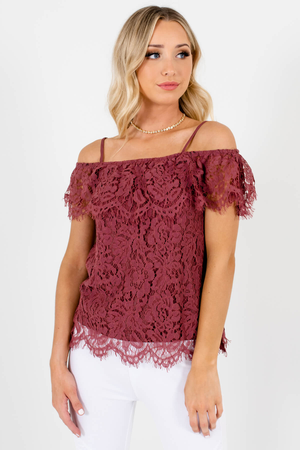 Mauve Purple Cold Shoulder Style Boutique Tops for Women