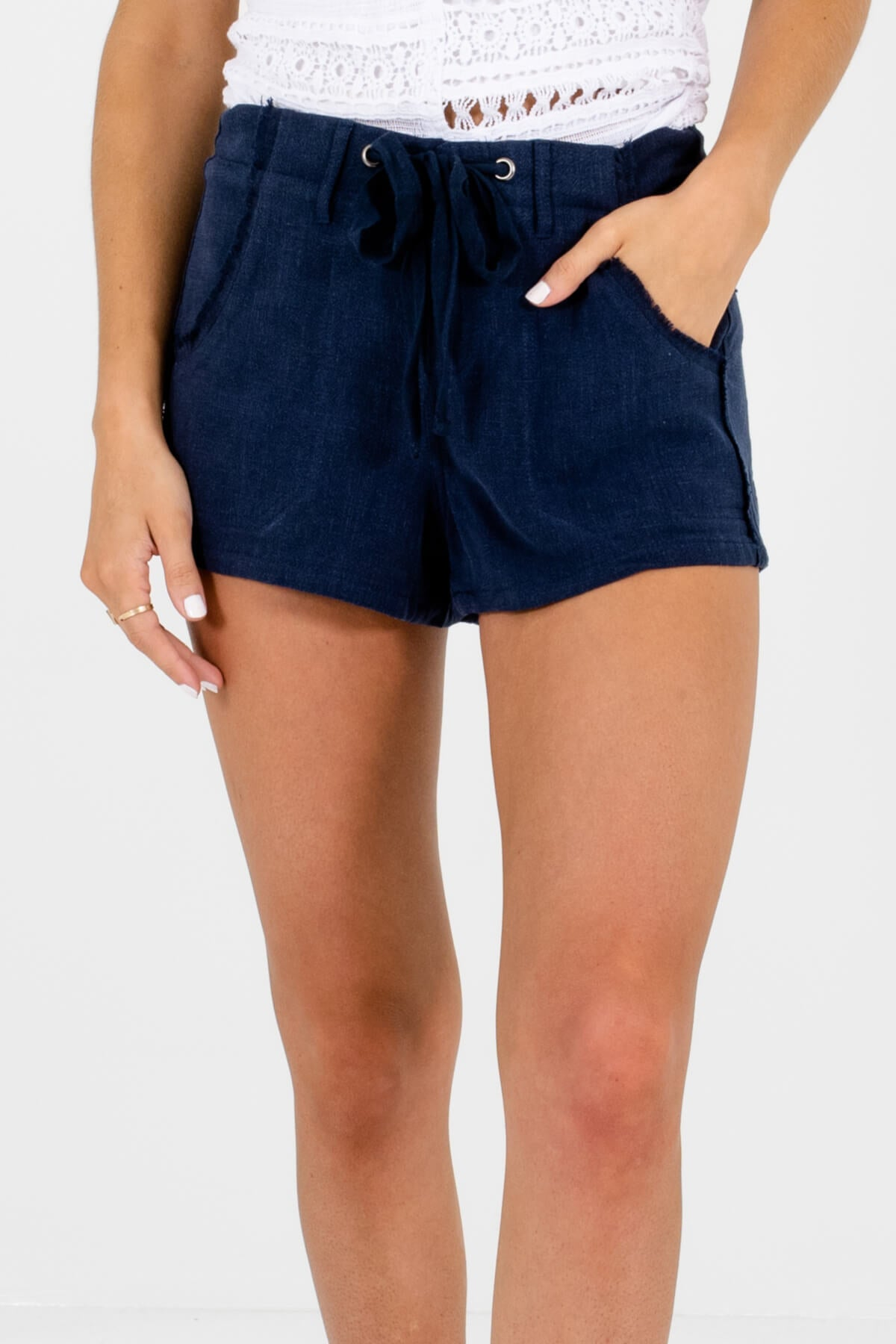Navy Blue High-Quality Boutique Shorts for Women
