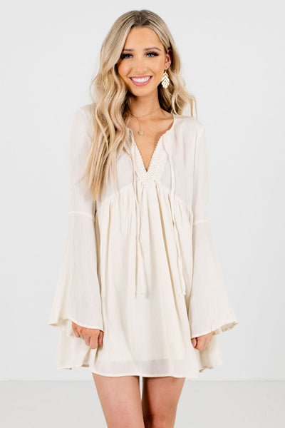 Women's Cream Boho Style Boutique Mini Dresses