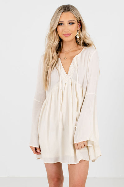 Cream Partially Lined Boutique Mini Dresses for Women