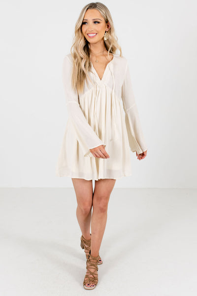 Cream Lightweight Flowy Boutique Mini Dresses for Women