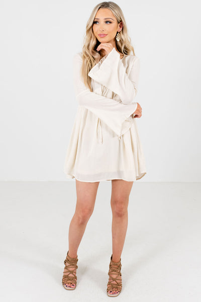 Women's Cream Casual Everyday Boutique Mini Dress