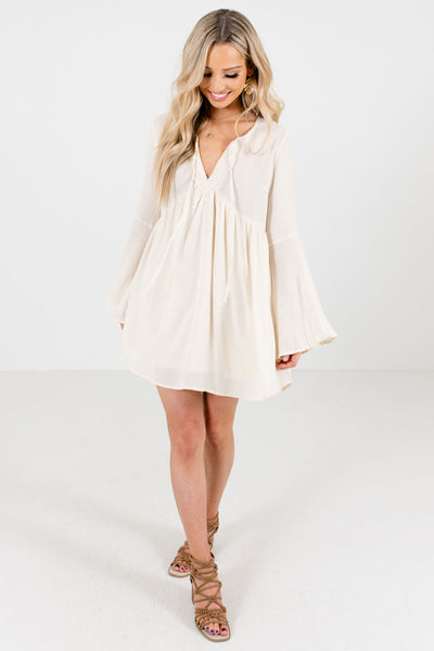 Cream Cute and Comfortable Boutique Mini Dresses for Women