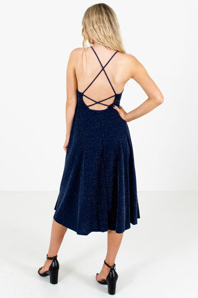Women's Navy Blue Open Back Boutique Midi Dress