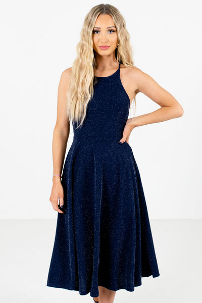 Navy Blue with Silver Glitter Accents Boutique Midi Dresses for Women
