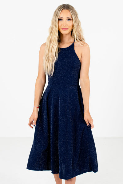 Women's Navy Blue Interior Lined Boutique Midi Dress
