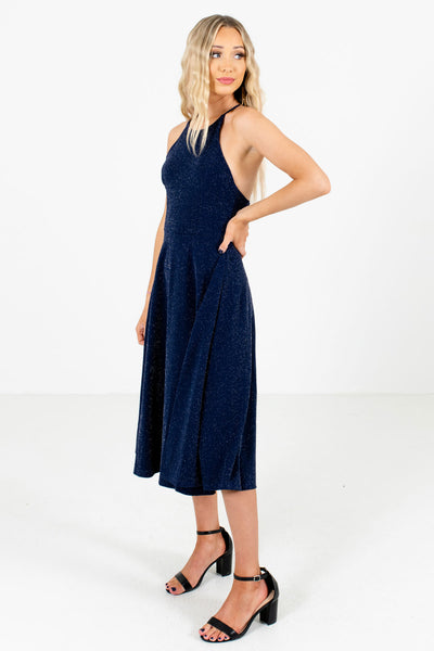 Navy Blue Strap Detailed Boutique Midi Dresses for Women