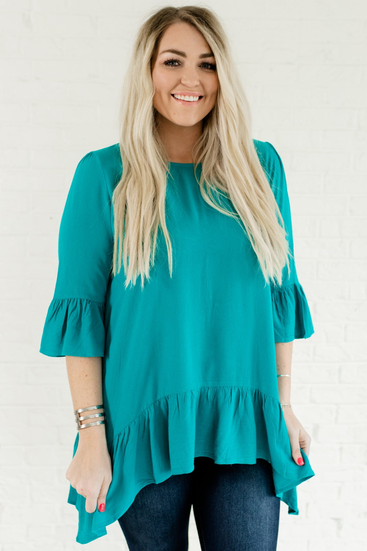 Teal Plus Size Boutique Ruffle Tunic Tops Affordable Online Boutique