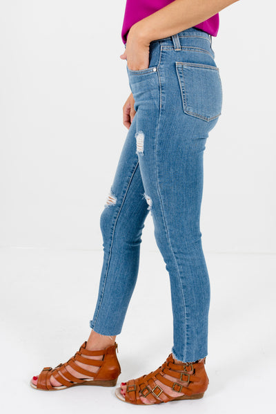 Light Wash Denim Blue High-Quality Boutique Skinny Jeans for Women