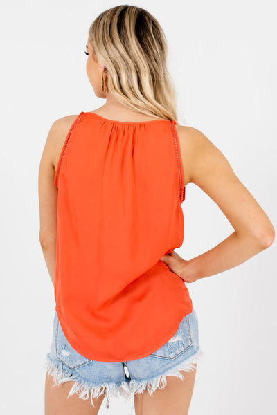 Women's Coral Pleated Accented Boutique Tanks