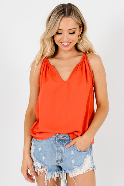 Coral Orange Crochet Detailed Boutique Tank Tops for Women