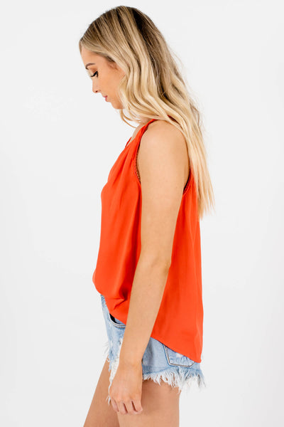 Women's Coral Silky Material Boutique Tank Tops