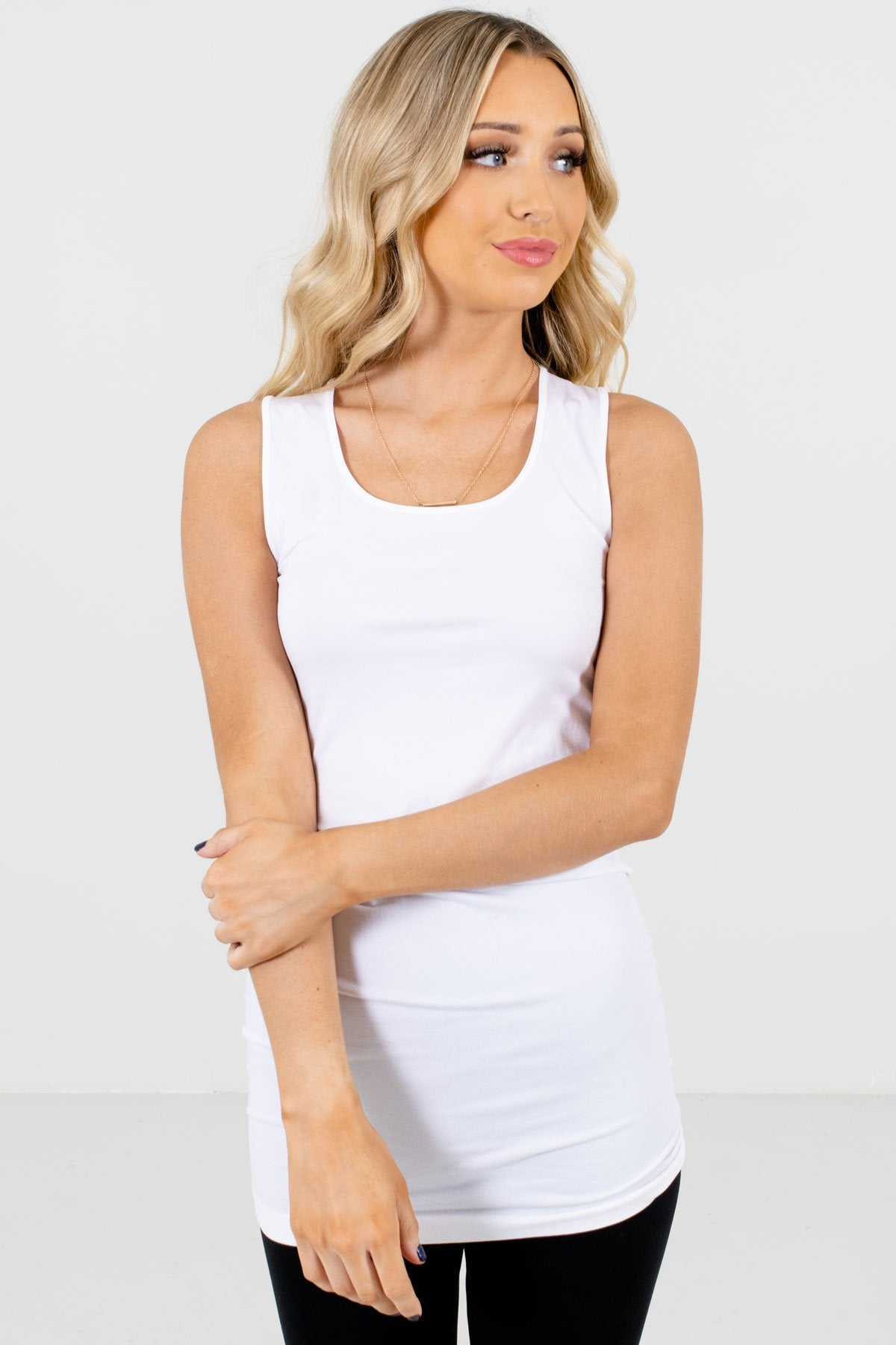 White Comfortable Hugging Fit Boutique Tank Tops for Women